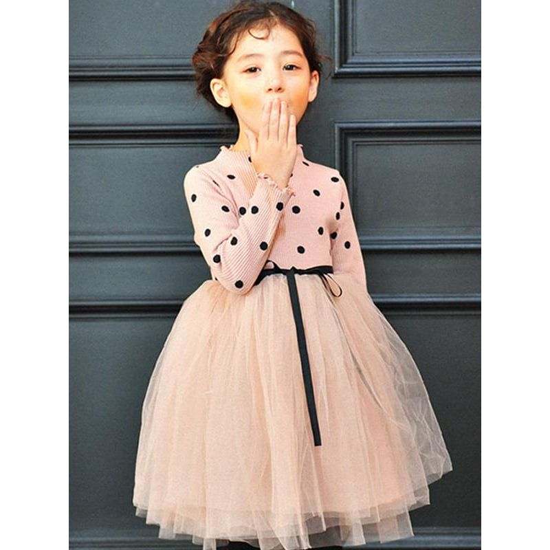 Kiskissing Paneled Pretty Pink Long-sleeve Dots Tulle Tutu Princess Dress for Toddlers Girls the model show wholesale toddler boutique clothing