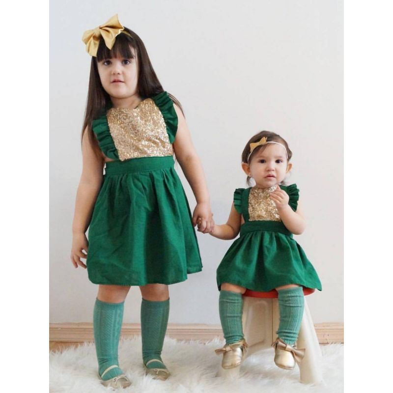 Paneled Ruffled Sleeveless Sequins Cotton Party Dress for Baby Toddler Girls