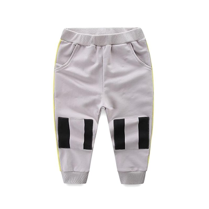 Gray Pockets Striped Elastic-Waist Pants Trousers for Toddlers Boys
