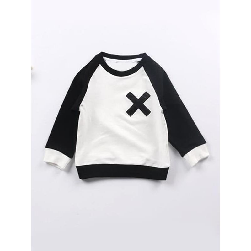 Color Block X Printed Long-sleeve Sweatshirt Top for Toddlers Boys