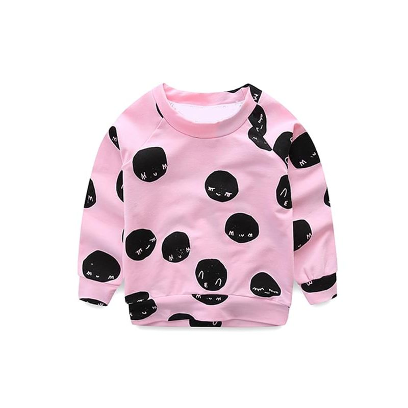 Kiskissing Pretty Pink Cartoon Smile Face Printed Long-sleeve Sweatshirt Top for Toddlers Girls the obverse side wholesale kids clothing suppliers