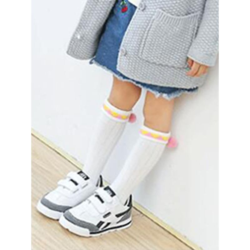 Cute Solid Color Breathable Cotton Socks Stockings for Toddlers Girls