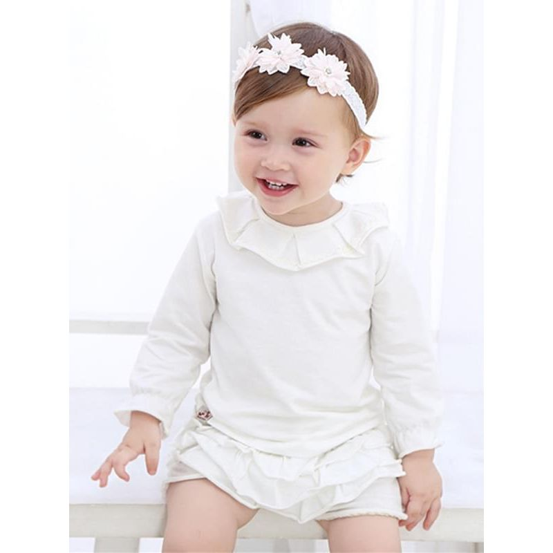 Kiskissing Cute 3-Flower Pattern Headband Head-wear Hair Clasp for Baby Toddler Girls the model show wholesale baby accessories