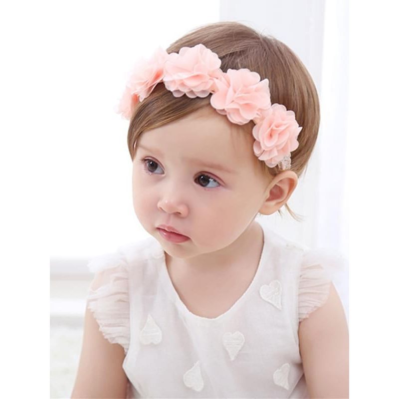 Kiskissing Cute 5-Flower Pattern Headband Head-wear Hair Clasp for Baby Toddler Girls the model show wholesale baby accessories