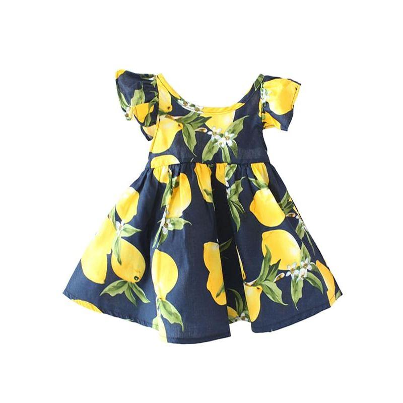 Kiskissing deep blue Fruits Printed Backless Cotton Dress Sundress Big Hem for Babies Toddlers Girls wholesale baby dresses