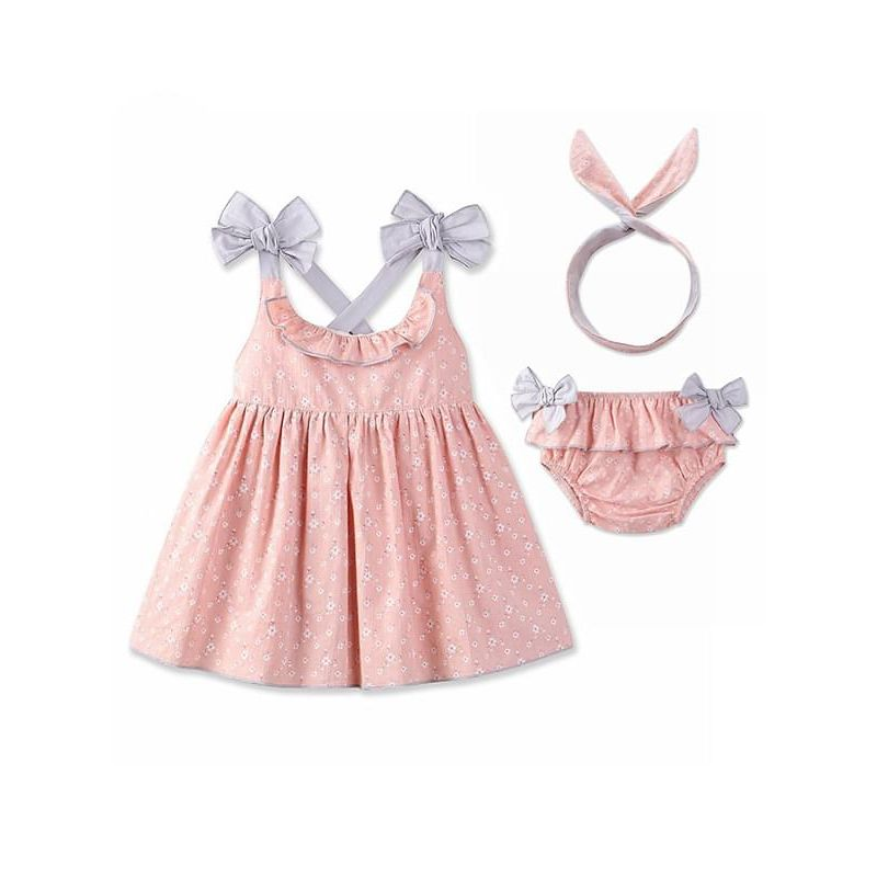 Kiskissing pink 3-piece Strapped Top Shorts Headband Set Bows Cotton Floral for Toddlers Girls wholesale childrens clothing