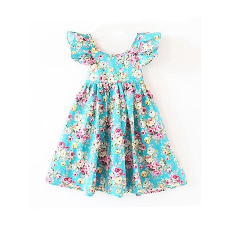 Kiskissing blue Backless Strapped Flowers Printed Dress Butterfly-sleeve Big Hem for Babies Toddlers Girls children's boutique clothing wholesale