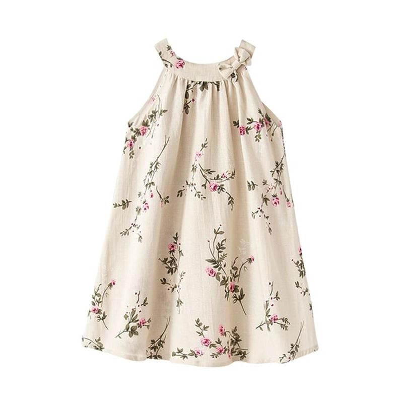 Kiskissing Sleeveless Linen Flowers Breathable Dress Bow Round-neck for Babies Toddlers Girls the obverse side kids clothing wholesale suppliers