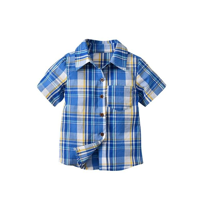 Kiskissing Navy Blue Plaid Pattern Short-sleeve Buttons Cotton Shirt Top for Toddlers Boys wholesale boys clothing the obverse side