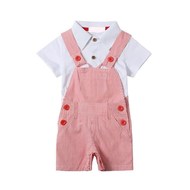 Kiskissing 2-piece Polo red Overalls Set White Tee Top Plaid Strapped Jumpsuit for Baby Boys wholesale childrens clothing