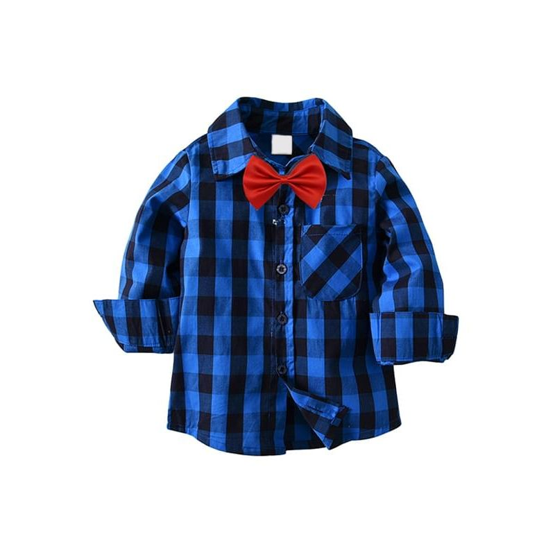 Kiskissing Blue Black Plaid red Bow-tie Long-sleeve Buttons Cotton Shirt Top for Toddlers Boys trendy toddler clothes wholesale