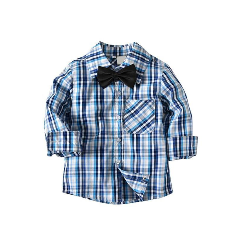Kiskissing Blue Plaid Black Bow-tie Long-sleeve Buttons Cotton Shirt Top for Toddlers Boys the obverse side wholesale toddler boy clothes