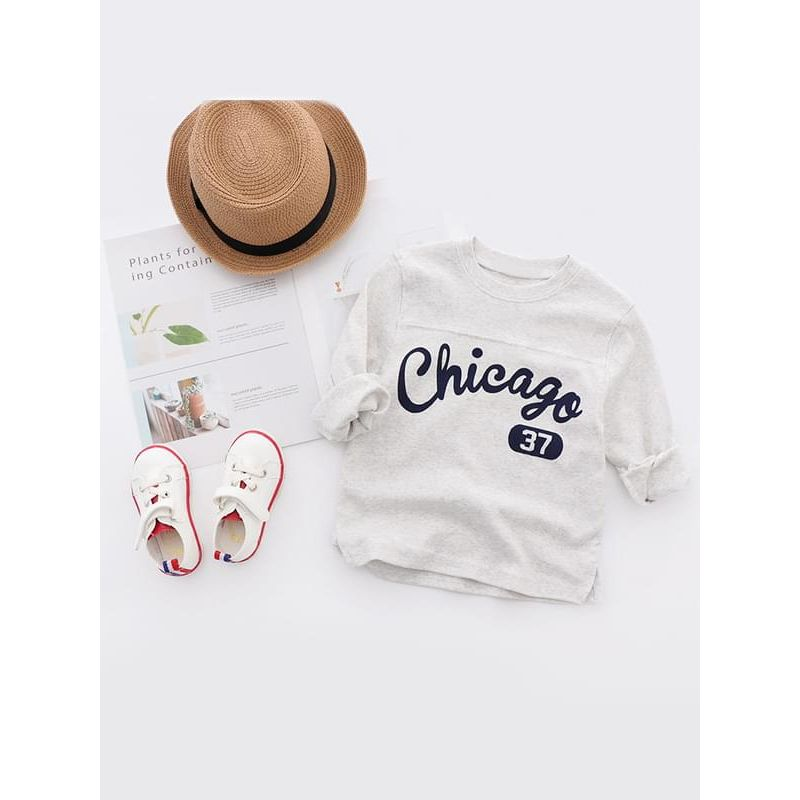 Kiskissing white Chicago Letters Printed Cotton Tee T-shirt Top Long-sleeve for Boys trendy kids wholesale clothing