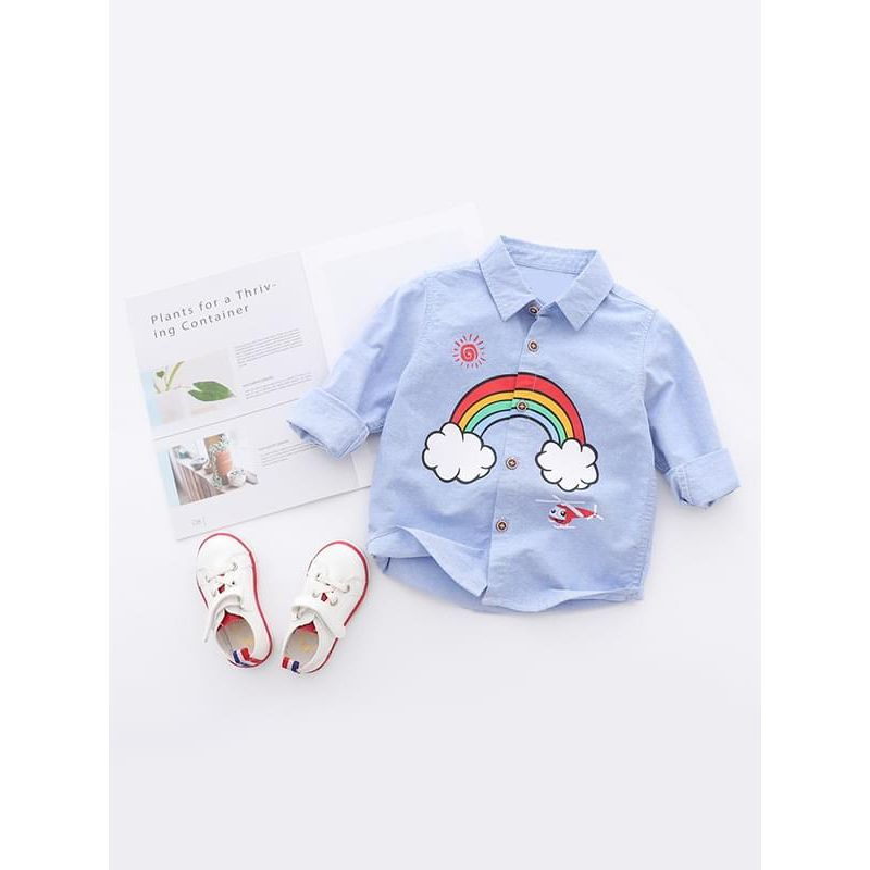 Kiskissing blue Cartoon Rainbow Helicopter Printed Cotton Shirt Top Long-sleeve for Toddlers Boys trendy toddler clothes wholesale