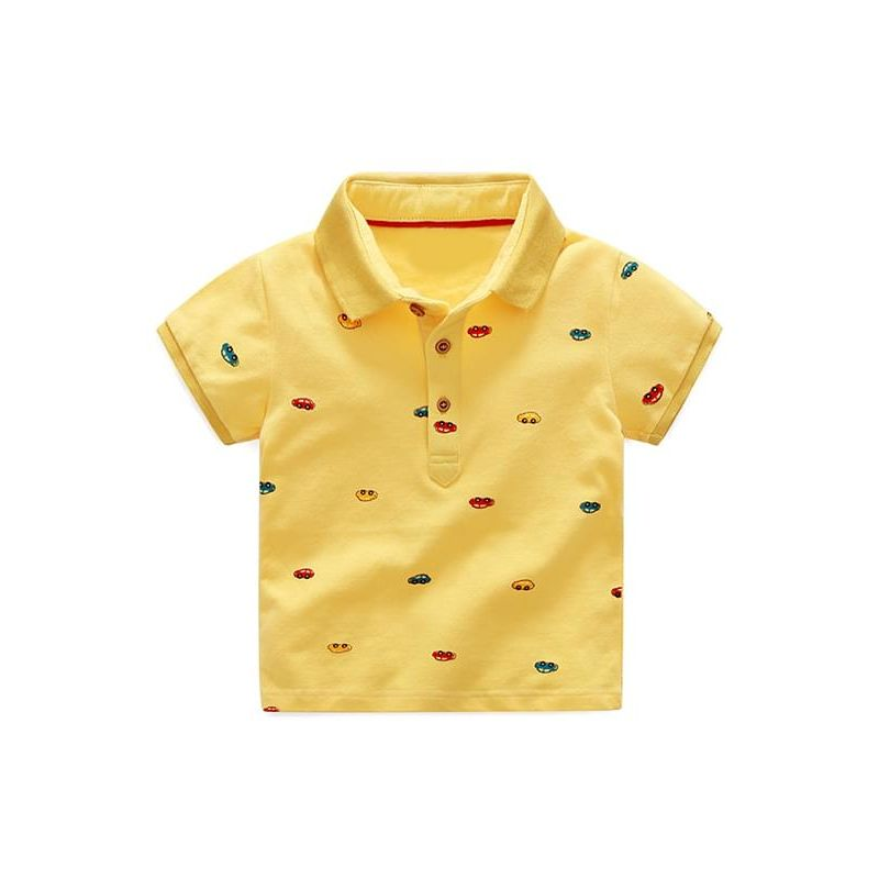 Kiskissing Solid Color yellow Cars Printed Polo Tee T-shirt Cotton Short-sleeve Top for Boys trendy kids wholesale clothing