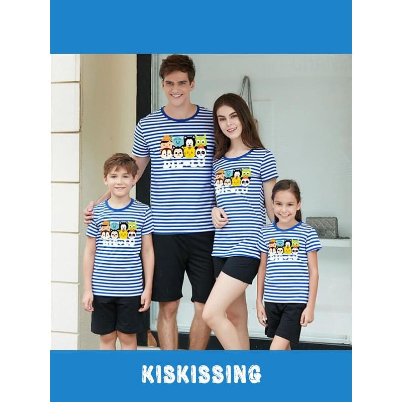 Kiskissing blue stripes Family Outfit Tee for Kids Printed Cotton Top T-shirt Short-sleeve for Boys Girls wholesale family matching clothes the model show