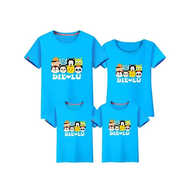 Kiskissing blue Family Outfit Tee for Dads Cartoon Printed Cotton Top T-shirt Short-sleeve the model show wholesale family matching clothes