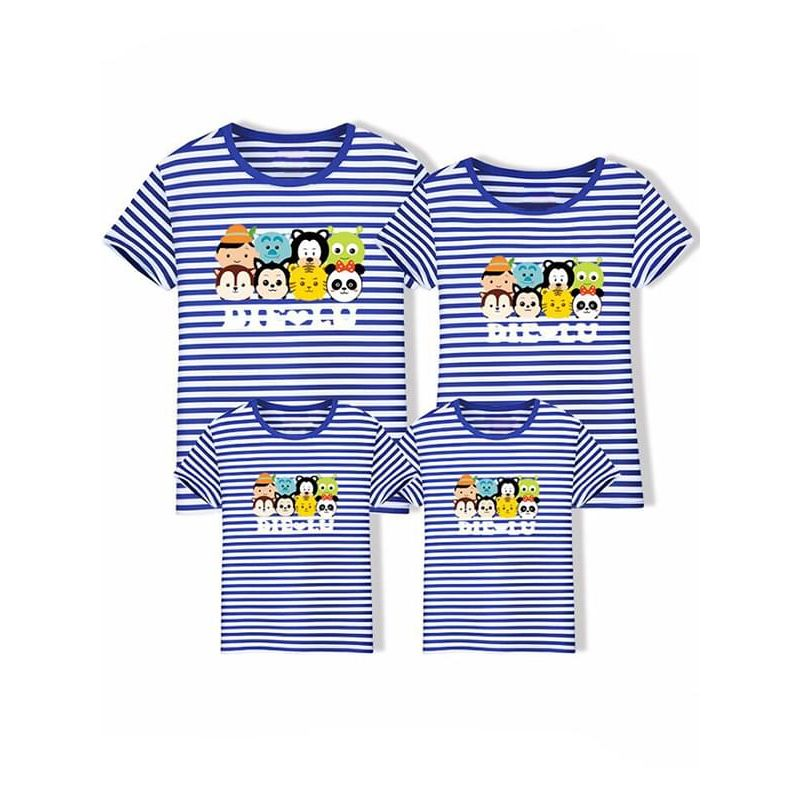 Kiskissing Family Outfit Tee for Moms Cartoon Printed Cotton Top T-shirt Short-sleeve blue stripes  wholesale family matching clothes