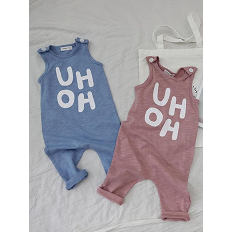 Kiskissing Uh-oh Letters Printed Cotton Jumpsuit Strapped Romper Sleeveless Overalls for Baby Toddler Boys wholesale baby onesies blue & pink colors