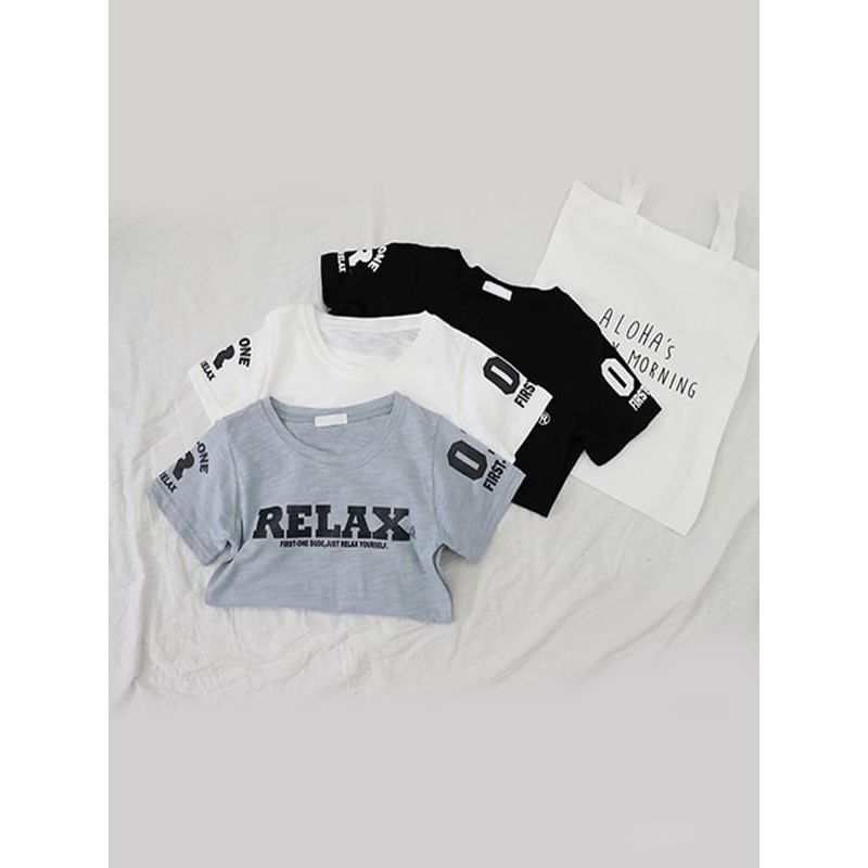 Kiskissing RELAX Letters Printed Cotton Tee Solid Color Short-sleeve T-shirt Top for Big Boys trendy toddler clothes wholesale black, white & blue colors available