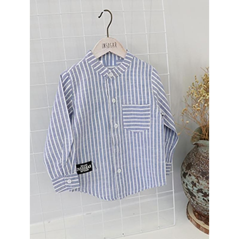 Kiskissing blue Striped Cotton Shirt Long-sleeve Buttoned Pocket Top for Big Boys wholesale children's boutique clothing