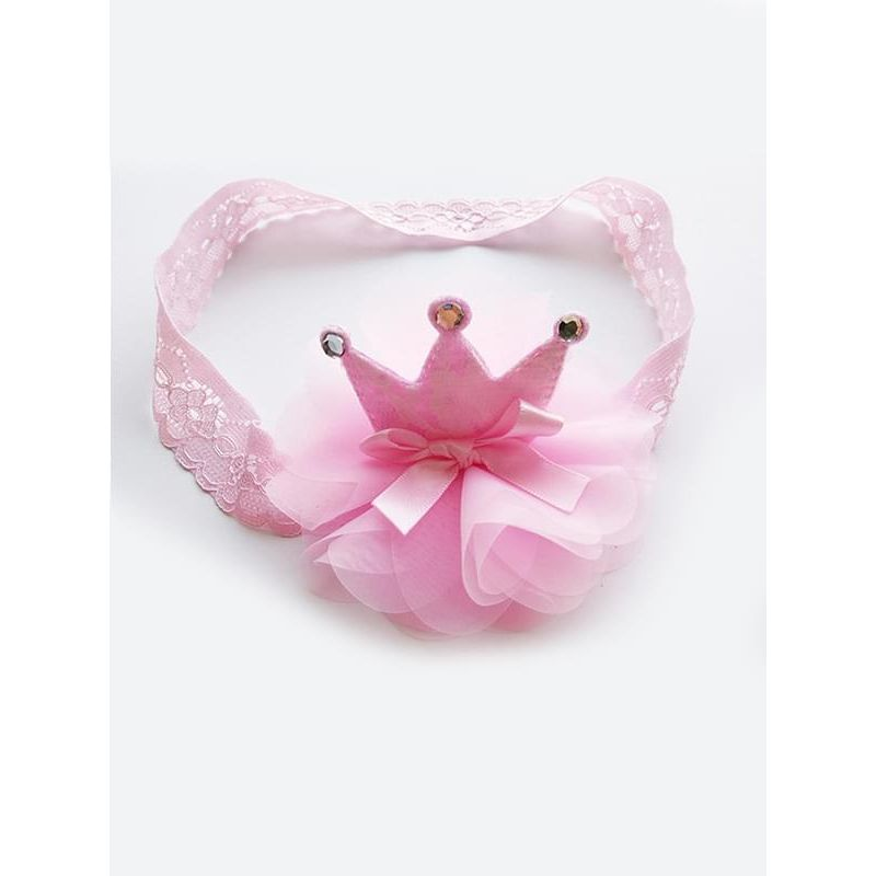 Kiskissing pink Princess Crown Pattern Tulle Lace Elastic Headband Head-wear for Baby Toddler Girls wholesale baby accessories