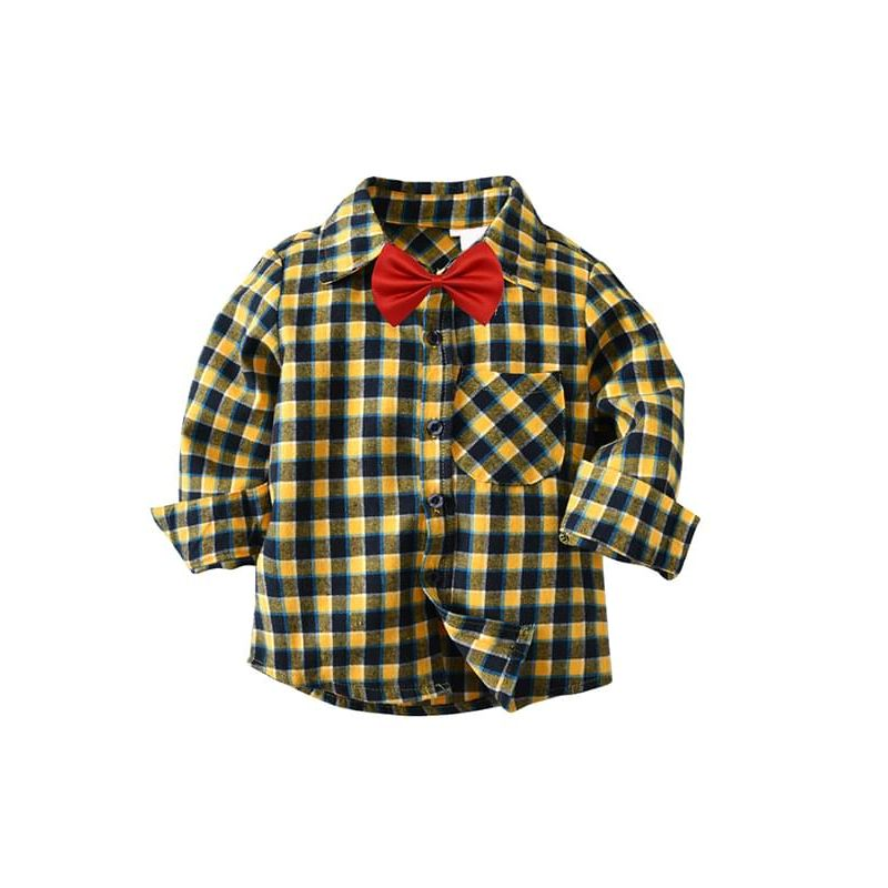Kiskissing Yellow Plaid Bow-tie Shirt Long-sleeve Buttons Cotton Shirt Top for Toddlers Boys kids wholesale clothing