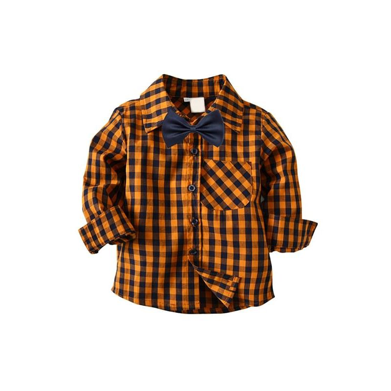 Kiskissing Orange Plaid Bow-tie Shirt Long-sleeve Buttons Cotton Shirt Top for Toddlers Boys trendy kids wholesale clothing
