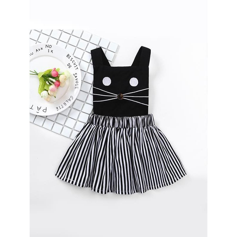 Kiskissing Cat Sleeveless Strapped Cotton Dress Striped Buttoned Detachable for Baby Girls wholesale baby dresses the obverse side