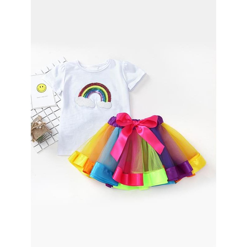 Kiskissing 2-piece Tee Rainbow Tutu Skirt Set Tulle Short-sleeve Top Colorful Pettiskirt for Toddlers Girls the obverse side children's boutique clothing wholesale