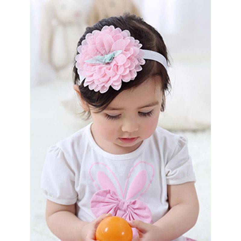 Kiskissing pink Big Flower Many Petals Headband Elastic Lace Head-wear for Baby Girls the model show wholesale baby accessories