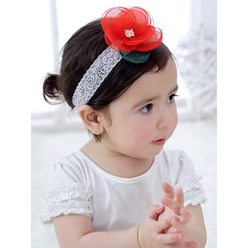 Kiskissing red Big Flower Lace Chiffon Cloth Headband Elastic Head-wear for Baby Girls the model show wholesale baby accessories