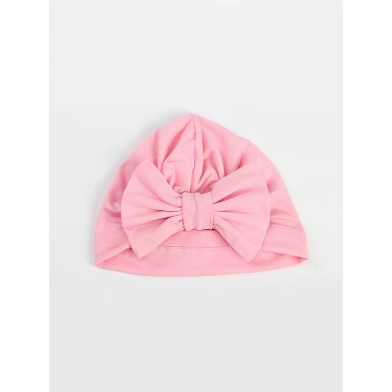 Kiskissing pink Bow-knot Pattern Cotton Cap Solid Color Elastic Head-wear for Baby Girls Boys wholesale baby accessories