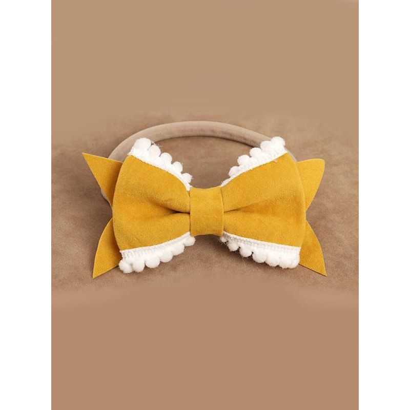 Kiskissing yellow Cute Bow-knot Pattern Elastic Headband Solid Color Head-wear for Baby Girls wholesale baby accessories