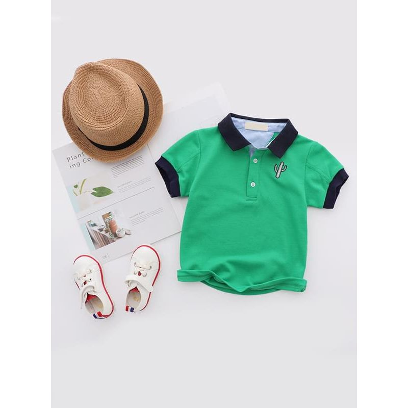 Kiskissing green Cactus Pattern Embroidered Polo Tee Solid Color Cotton T-shirt Short-sleeve Top for Boys wholesale toddler boutique clothing