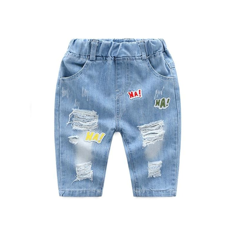 Kiskissing HA Letters Holes Pattern Pirate shorts Cool Jeans for Toddlers Boys the obverse side kids clothing wholesale suppliers