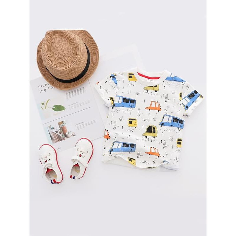 Kiskissing white Cartoon Vehicles Print Tee Round-neck Cotton T-shirt Short-sleeve Top for Boys wholesale toddler boy clothes