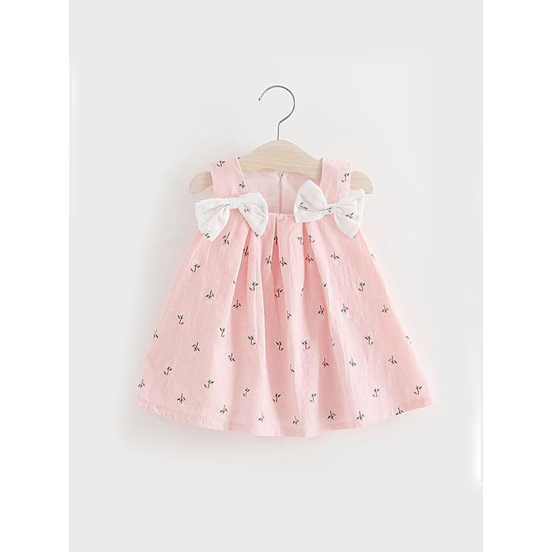 Kiskissing pink Cute Floral Sleeveless Dress Bow Strapped for Baby Girls wholesale baby dresses