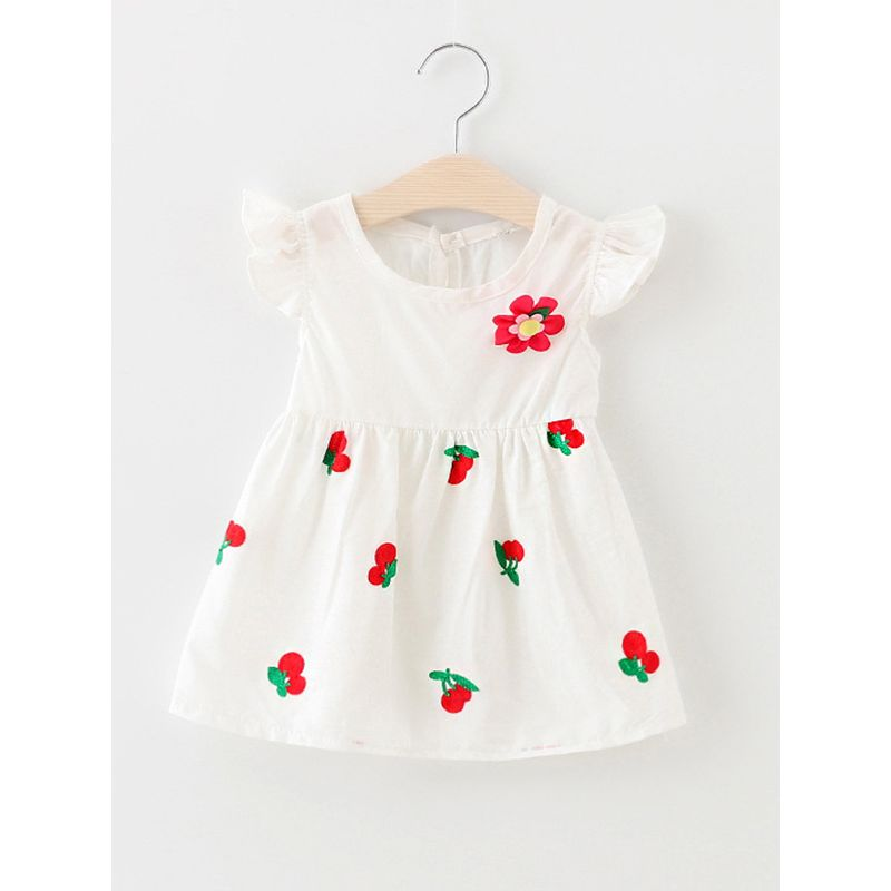 Kiskissing Cute Cherry Print Embroidery White Sleeveless Dress for Baby Toddler Girls wholesale baby dresses the obverse side