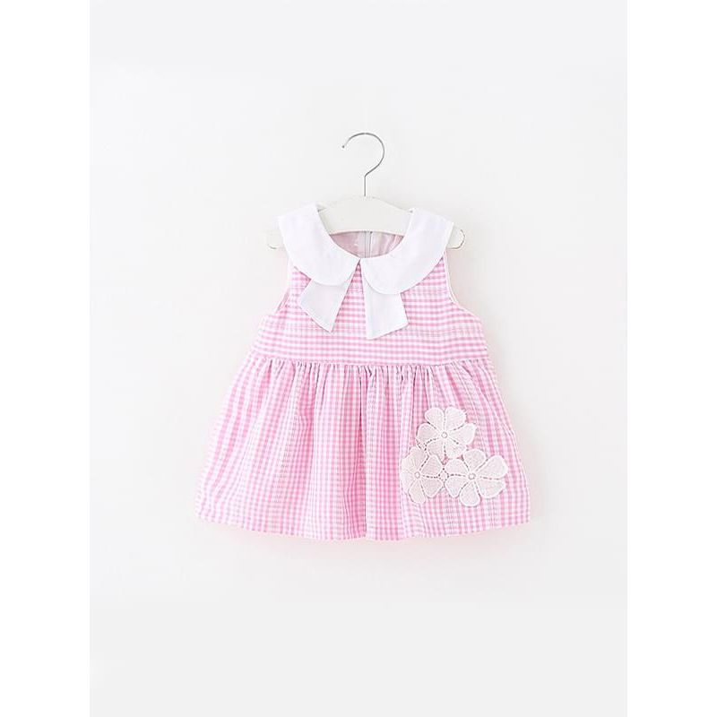 Kiskissing pink Cute Plaid Print Flower Sleeveless Pleated Dress for Baby Toddler Girls wholesale childrens clothing the obverse side