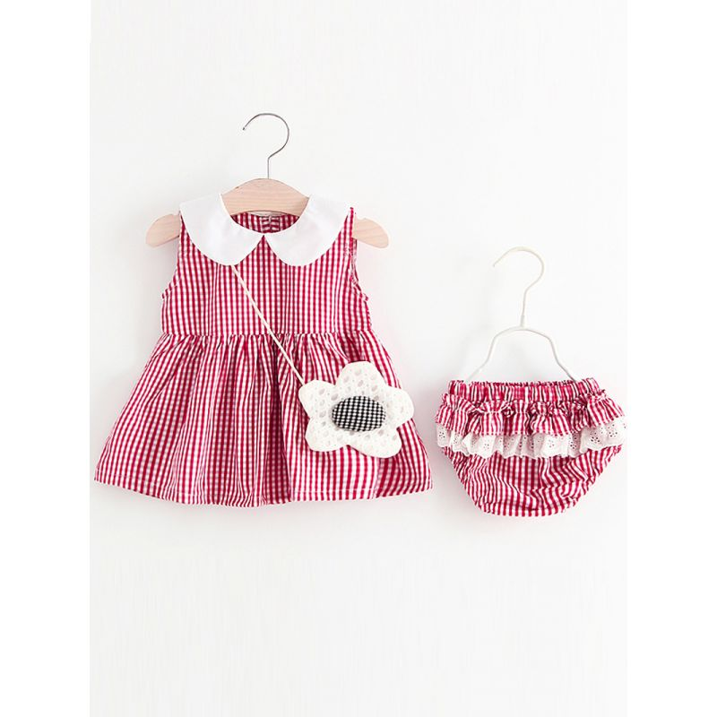 Kiskissing red 2-piece Plaid Romper Dress Shorts Set Sleeveless Pleated for Baby Girls children's boutique clothing wholesale