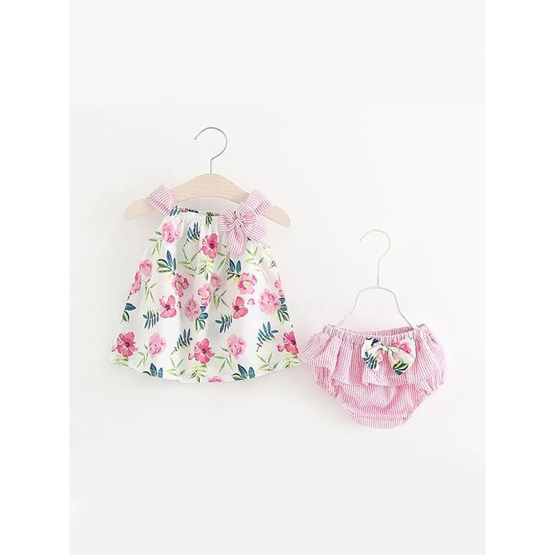 Kiskissing pink 2-piece Floral Print Shorts Set Sleeveless Bow Strapped Top Pleated Bottom for Baby Girls trendy kids wholesale clothing