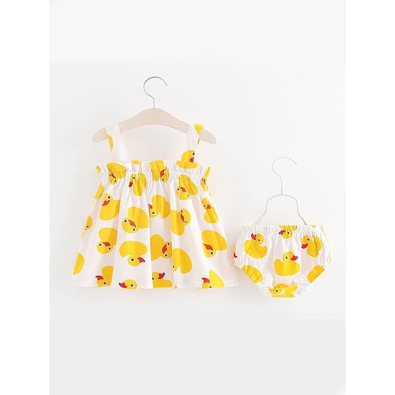 Kiskissing 2-piece Duck Print Slip Dress Shorts Set Sleeveless Strapped Top Pleated Bottom for Baby Girls wholesale girls clothing
