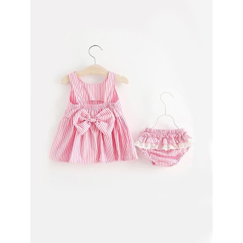 Kiskissing pink 2-piece Stripes Backless Dress Shorts Set Sleeveless Strapped Bow Top Pleated Bottom for Baby Girls wholesale baby clothes