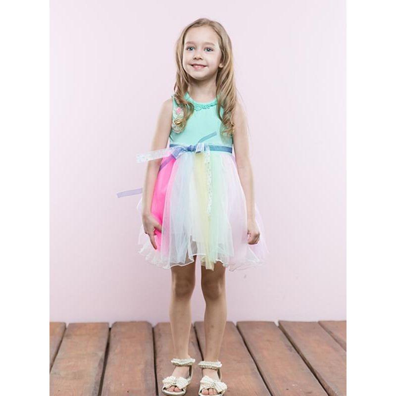 Kiskissing blue Rainbow Colorful Dress Tutu Princess Dress Boho Style Sleeveless Cotton Tulle for Toddlers Girls wholesale princess dresses