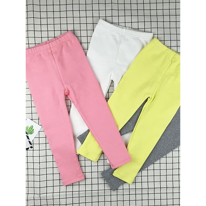 Solid Color Knitting Cotton Trousers Elastic Pants Mid-rised Waist for Baby Toddler Girls