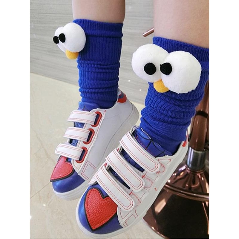 Kiskissing blue Solid Color Cartoon Figure Socks Breathable Cotton for Girls wholesale childrens accessories