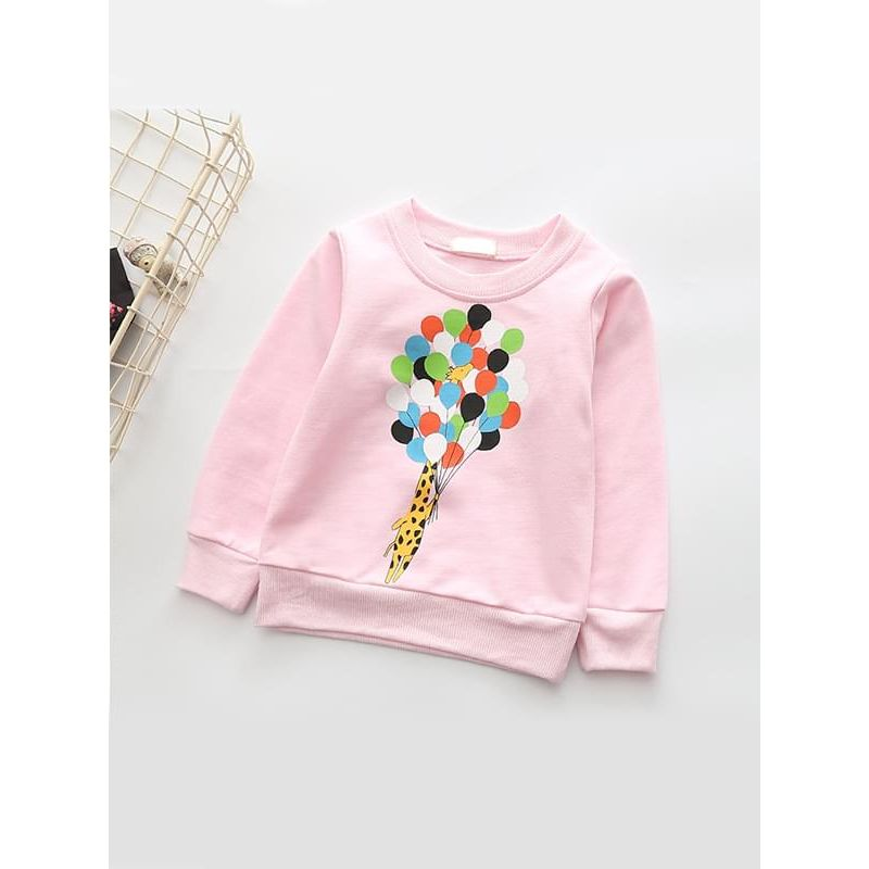Kiskissing pink Giraffe Balloons Print Cotton Top Long-sleeve for Toddlers Girls wholesale childrens clothing