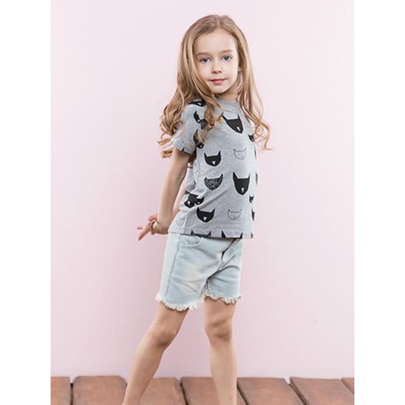 Kiskissing Cartoon Print Cotton Tee Round-neck T-shirt Top Short-sleeve for Toddlers Girls Boys the model show toddler girl wholesale clothing