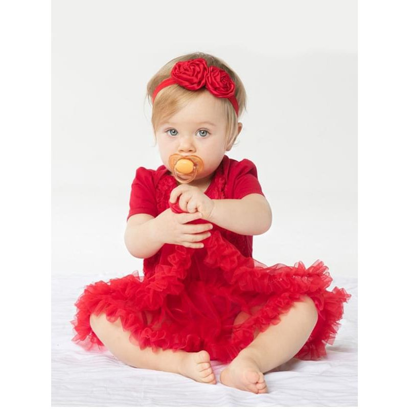 Kiskissing 2-piece Roses Romper Tutu Dress Headband Set Short-Sleeve Cotton Tulle for Babies the model show wholesale baby clothes